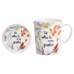 ROYAL BOTANIC GARDEN Becher mit Untersetzer Rather Be, Bone China Porzellan, in Geschenkbox
