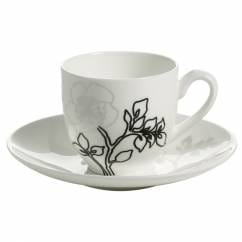 MOON SHADOW Espressotasse mit Untertasse 100 ml, Bone China Porzellan