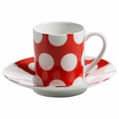 POLKA DOT Espressotasse mit Untertasse Rot, Porzellan