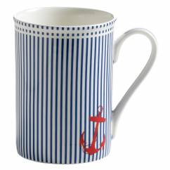 NAUTICAL Becher Blau gestreift, Bone China Porzellan, in Geschenkbox