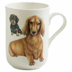PETS Becher Dackel Hund, Bone China Porzellan, in Geschenkbox