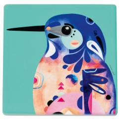 PETE CROMER Topfuntersetzer Azure Kingfisher, 20 cm, Keramik - Kork