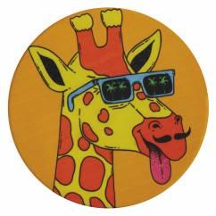 MULGA Untersetzer rund, 10,5 cm, Giraffe, Keramik - Kork
