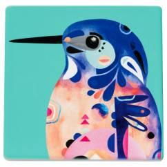 PETE CROMER Untersetzer Azure Kingfisher, Keramik - Kork